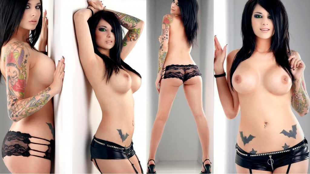 Green eyed scene chick with amazing tattoos